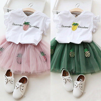 UK 2PCS Toddler Kid Baby Girls Summer Outfits Clothes Tutu Skirt Shirt Top Dress