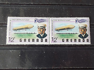 Paire 2 timbres neuf Grenada : 1er vol du Zeppelin - First Zeppelin flight