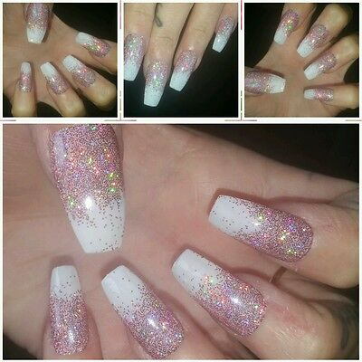 Holographic Rose Pink Glitter Fade Full Set COFFIN False Nails x 20 Sparkly