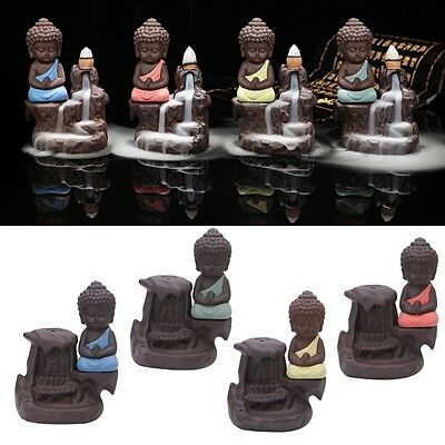Ceramic Little Monk Smoke Backflow Cone Decoration Incense Burner New