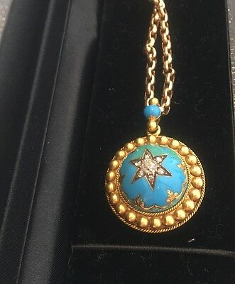 victorian 18ct gold, diamond and enamel locket with chain