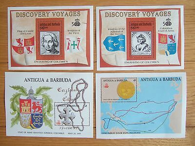 ANTIGUA & BARBUDA COLUMBUS DISCOVERY MINIATURE SHEETS x 4 DIFFERENT MNH MINT