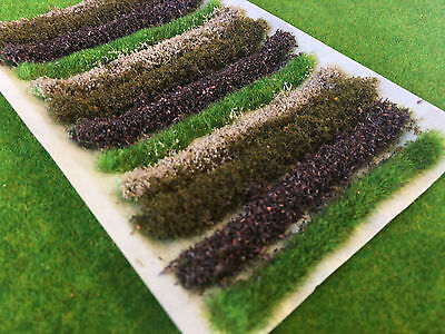 Brown Flower Bush & Hedge Strips -Static Grass Tufts Model Scenery Railway trees