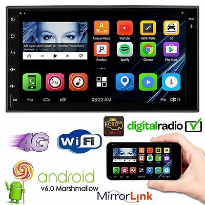"POWSTRO Android 6.0 2Din 7"" Sat Nav Car Stereo GPS DAB+ OBD Bluetooth Radio WiFi"
