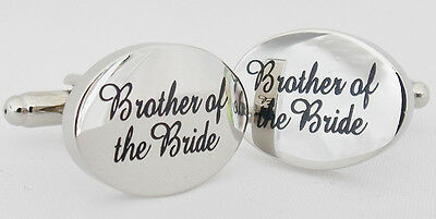 Wholesale Job Lot 18x Pairs Silver OVAL Brother of the Bride Wedding Cufflinks