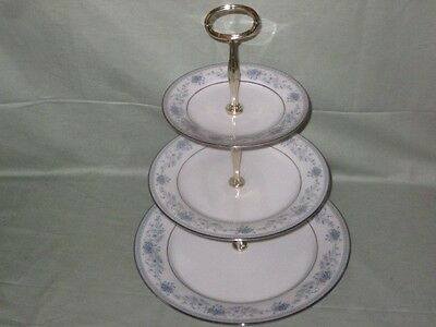Noritake Blue Hill 3-Tier China Cake Plate Stand  Pattern No.2482 (Worn Gilding)