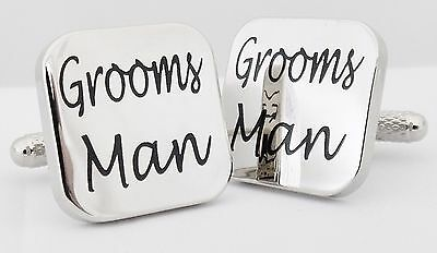 Wholesale Job Lot 24x Pairs Silver Square Groomsman Cufflinks wedding gift