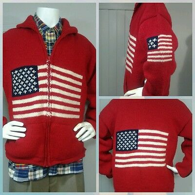 Vintage Unisex American Flag 100% Hand Knit Heavy Wool Zipper Cardigan Sweater L