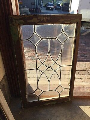 "Sg 1448 Antique Belval Centered Leaded Glass Window 21 1/2"" X 34 1/2"""