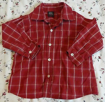 Next Boys Red Checked Shirt Long Sleeve Age 12-18 Months