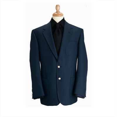 New Brook Taverner Henley Classic Wool Blend Patch Blazer - Navy - Choose Size