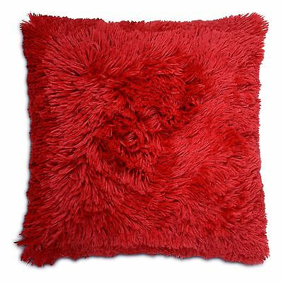 "Long Pile Soft & Cuddly Shaggy 17x17"" (43x43cm) Faux Fur Cushion Cover - Red"