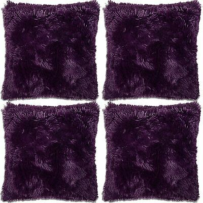 "4 x Long Pile Super Soft & Cuddly Shaggy 17x17"" (43x43cm) Cushion Cover (Purple)"