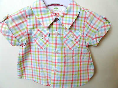 Mayoral Newborn Baby Boys Checked Short Sleeve Formal Summer Shirt 0-3 Months