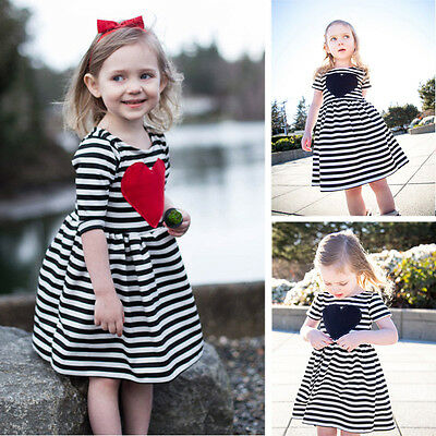 Toddler Baby Girls Heart Striped Short Sleeve Dress Party Sundress for 2-6T Kids