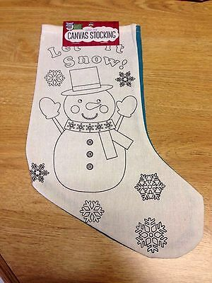 Color Me Canvas Christmas Stocking Snowman Let It Snow Bright Minds Nicole New