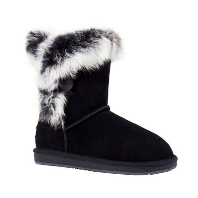 UGG Button Fur Mid Boot, Australian Sheepskin - Auzland, Black, Ladies