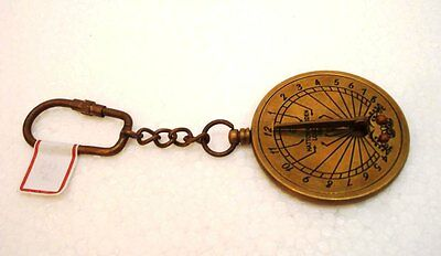 Brass SUNDIAL & CALENDOR Key Chain- Collectible Marine Nautical Key Ring (34)