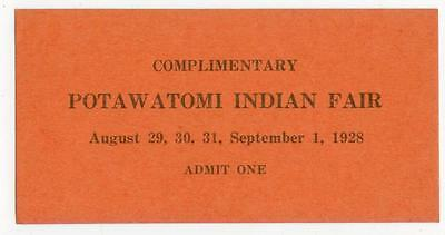 1928 Potawatomi Indian Fair ticket  - Mayetta Kansas