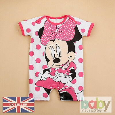 Minnie Baby Bodysuit Jumpsuit Romper Disney Girl Infant Clothes Mickey Outfit UK