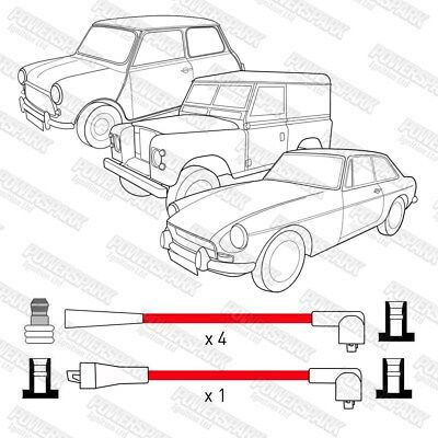 HT Leads Powerspark 8mm Double Silicon UK Made Land Rover Series 2.25 2.5