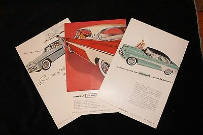 Collection of Three Original Vintage Ads for 1955 DeSoto