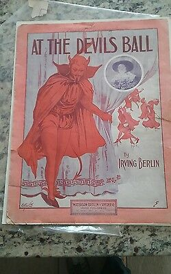 Antique 1913 Halloween Sheet Music At The Devils Ball