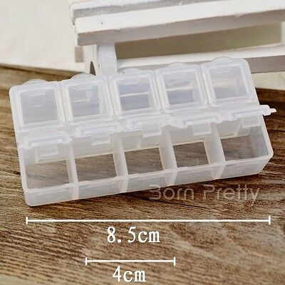 Nail Art Empty Clear Plastic Rectangle Storage Case Storage Divider Box Tools