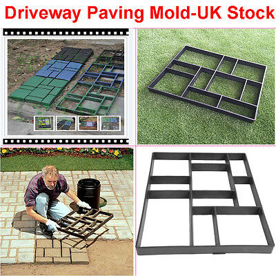 DIY 10 Grids Garden Pavement Blocks Paving Concrete Mold Driveway Mould Handmade
