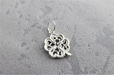 "Sterling Silver (925)  Solid 3D Charm ""Filigree 4 Leaf Clover"""