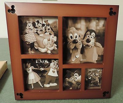 Disney Parks Cherry Wood Multi Square Picture Frame NIB