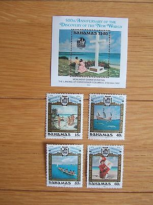 BAHAMAS 1992 DISCOVERY OF NEW WORLD SET 4v + M/S MNH MINT SG933/MS937