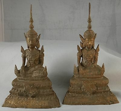 "Pair Vintage Thai Bronze Bodhisattva. Very nice patina. 8 ½"" tall, 1lb 8oz each."