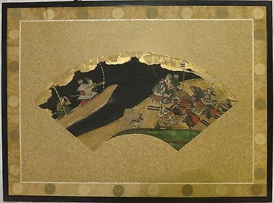 "c. 1750  Japanese Tosa School painting, COA, Framed, Solders battle, 20""x10"""