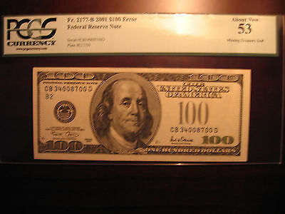 RARE ERROR (Missing Green Seal) $100 PCGS NOTES/US CURRENCY/PAPER MONEY/BILL