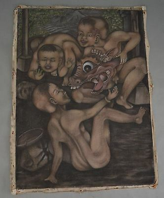 "Painting ""Children playing with a Barong mask"" Bali Indonesia ca. 1980"