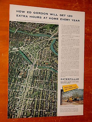 Canadian 1958 Caterpillar Ad & Ottawa Queensway Highway Project - Vintage Canada