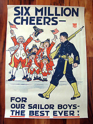 Original WWI War Poster, Six Million Cheers For Our Sailor Boys, Navy, 1918