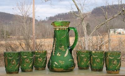 "Eapg Green   ""delaware""   (7) Pc Tankard Style Pitcher Water Set"