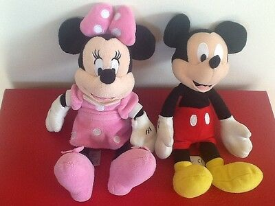 """Minnie and Micky Mouse Disney Soft Toys 9"""" VGC"""