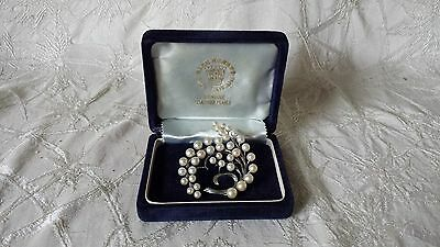 Vintage Sterling Silver Akoya Pearl Brooch Sakata Pearl Co. Ltd Japan AA Grade