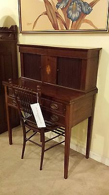 Early 1900's Federal Style Tambour Mahogany Ladies Desk w Chair