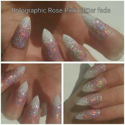 Holographic Rose Pink Glitter Fade Full Set Stiletto False Nails x 20 Sparkly
