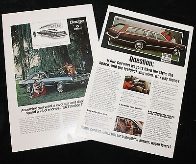 Collection of Two Vintage Ads for 1971 Dodge Coronet