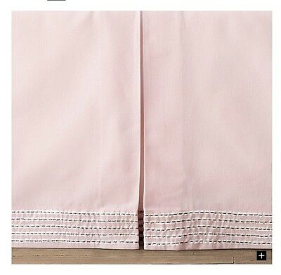 NEW Restoration Hardware Baby&Child Petal Pink Cotton Linen Crib Skirt