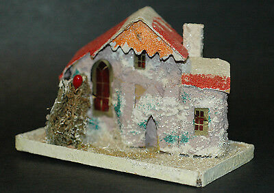 "Early 1930s Putz House Candy Container Coconut & Mica Trim ""Frosted"" Look Japan"