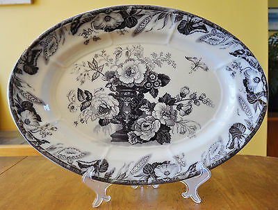 Lovely Antique Flow Mulberry Ironstone Staffordshire Oval Platter Furnival Avon