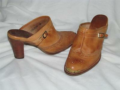 Vtg 80s metal toe tips Leather Slip on wood heel WESTERN Clogs Slides HEELS 7