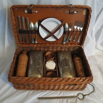 Antique English Wicker Picnic Basket Set-Enamelware Containers, Flasks, Etc.