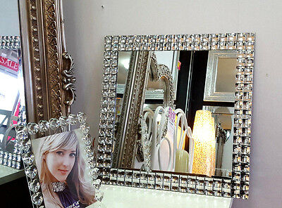 Art Deco Square Diamante Crystal Frame Wall Mirror Glass 50X50cm Modern Design